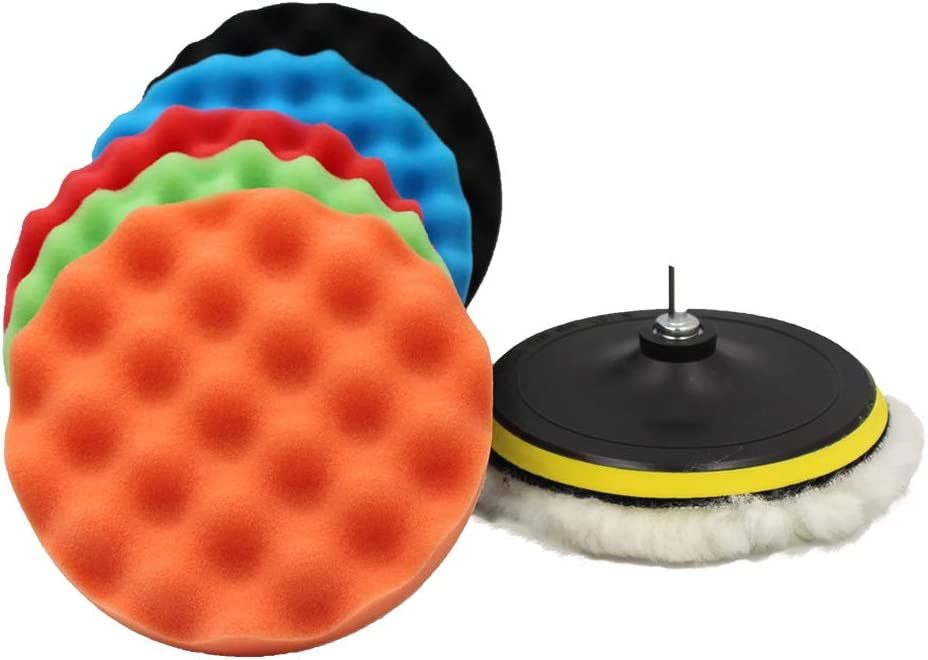 ADrivWell Polishing Pads 7 inch Car Foam Drill Sponge Polishing Wheel Pad Kit for Drill Buffing Waxing (7PCS) with M14 Drill Adapter Suction Cups