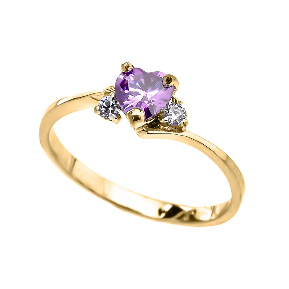 Dainty 14k Yellow Gold June Birthstone Heart with CZ Proposal/Promise Ring (Size 7)