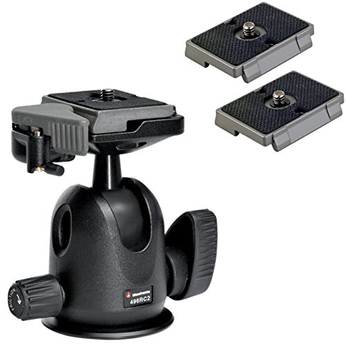 Manfrotto 496RC2 Compact Ball Head with Quick Release Plate with Two Replacement Quick Release Plates for the RC2 Rapid Connect Adapter
