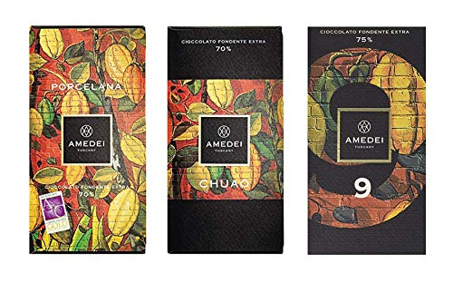 Amedei Dark Chocolate Bar Bundle- Includes Porcelana, Chuao and Signature 9 (3-pack) ()