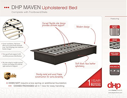 DHP Maven Platform Bed with Upholstered Linen and Wooden Slat Support, Full Size - Grey
