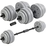 DTX Fitness 30Kg Adjustable Weight Lifting Dumbbell Barbell Bar & Weights Set - Silver