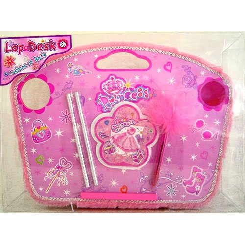 Pink Princess Wooden Lap Desk with Stationary and Cup -