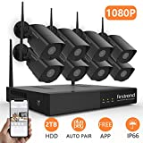 [Newest]Security Camera System Wireless,Firstrend 1080P Security Camera System with 8pcs HD Security Camera and 2TB Hard Drive Pre-installed, P2P Wireless Security System[Black]