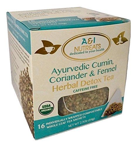 Ayurvedic Cumin, Coriander and Fennel Tea - Premium whole leaf pyramid tea sachet bags - USDA Organic, Herbal Detox Tea - Improves digestion, Increases metabolism (16 Sachets Tea box)