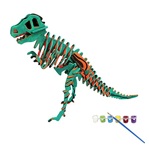 Bfun Woodcraft 3D Puzzle Assemble and Paint DIY Toy Kit, T-Rex -