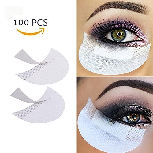 Eyeshadow Shields,100 pieces VEEYOL Professional Medical Non-woven Cloth Makeup Shield For Eyelash Extensions/Lip Makeup