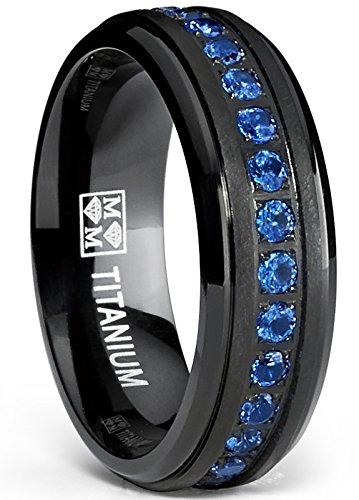 Black Titanium Men's Eternity Ring Band With Deep Blue Cubic Zirconia CZ, Size 9.5