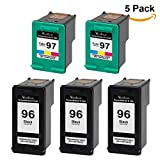 Valuetoner Remanufactured Ink Cartridge Replacement for HP 96 & HP 97 C8767WN C9363WN (3 Black, 2 Tri-Color) 5 Pack
