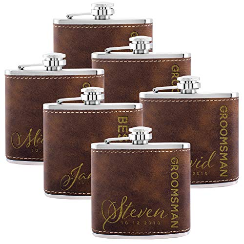 Personalized Flask For Wedding Groomsmen Gift, Customized Flask Set FREE Personalization - Laser Engraved - Design -6 (Leatherette, 6) (Best Man Groomsmen Gifts)
