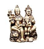 Amazing India God Shiva Parvati And Nandi Ganesh Idol Statue 5 Inches X 4 Inches White