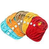 Baby Bibs with Snap Closures Solid Colors (10 Pack)...
