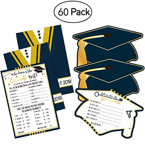30Pcs Graduation Advice Cards and 30Pcs Graduation Game Cards for 2019 High School/College/University Grad Party Supplies Games Activities Invitations, Graduate Favors -