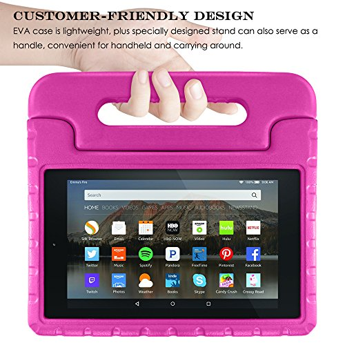 Tablet All-New Fine 7 2015 Case with Screen Protector & Stylus, AFUNTA Convertible Handle EVA Protective Case, PET Plastic Cover & Touch Pen Compatible 7 inch Tablet (5th Generation 2015 Release)-Rose by AFUNTA (Image #7)