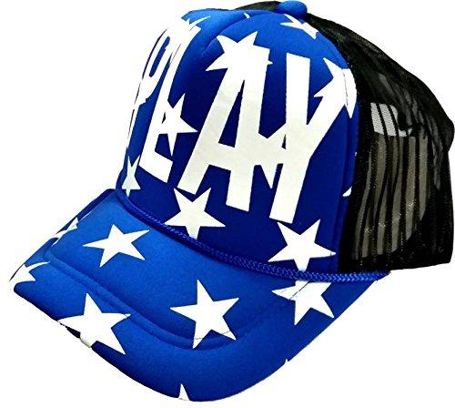 Hashtag Men s Half Net Baseball Style Play Printed Cap (Blue a708246e7701