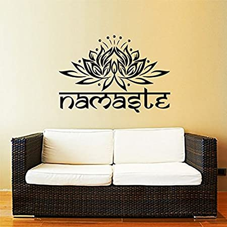 Namaste Wall Decal Quote Lotus Flower Vinyl Sticker Decals Quotes ...