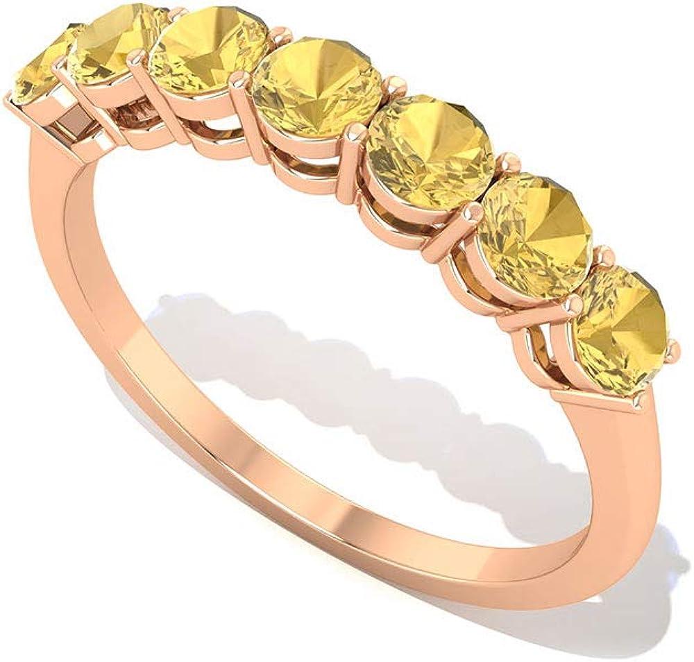 Anillo de aniversario de citrino AA de 0,63 quilates, certificado SGL, anillo de boda de piedras preciosas amarillas, 14K Oro rosa, Size:EU 57