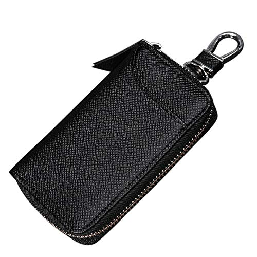 Case Keychain Bag (Linsam Key Holder Case,Portable PU Leather Car Key Chain Purse with 6 Hooks for Men and Women(Dark Black))