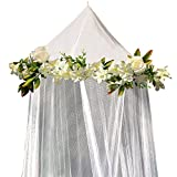 ENCHANTED FLOWER PRINCESS BED CANOPY Mosquito Net For Girls, Kids & Baby by Bobo & Bee - Adorned with Beautiful Rose and Ivy Vine - Twin Size, White – Perfect Over Crib or as Reading Nook