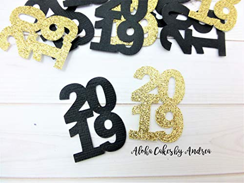 2019 Confetti Black/Gold/Red/Silver/White/Orange/Navy/Blue/Green/Yellow/Purple (1 pack of 60), Party Decor, Graduation Party Idea, School Colors, New Years Party ()