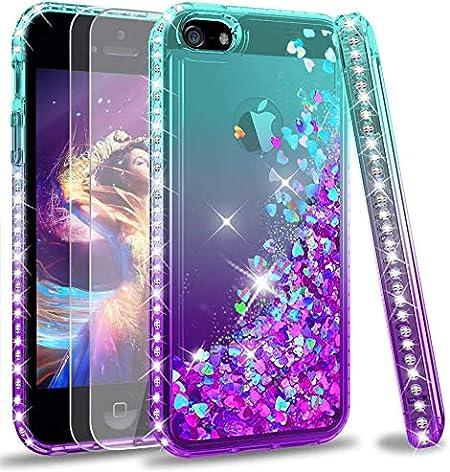 LeYi Custodia iPhone 5S / iPhone SE/iPhone 5 / iPhone SE 2 Glitter Cover con Vetro Temperato [2 Pack],Brillantini Diamond Liquido Sabbie Mobili Bumper ...