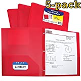 C-Line Two-Pocket Heavyweight Poly Portfolio with Prongs, For Letter Size Papers, Includes Business Card Slot, Pack of 5 Portfolios, Assorted Colors (Red)