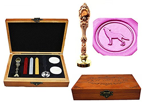 MNYR Vintage Wolf Howl Animal Decorative Luxury Wood Box Rose Gold Metal Peacock Wedding Invitations Gift Cards Paper Stationary Envelope Custom Wax Seal Sealing Stamp Stick Melting Spoon Wood Box Set ()