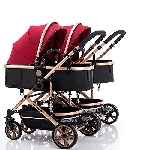 RUMIAO Baby Twin/Tandem Pushchair, Detachable Combination, Two Way, 3DEVA Wheels,Red