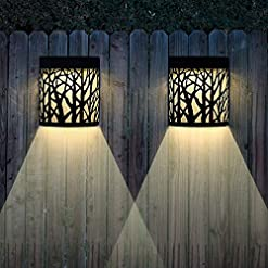 Garden and Outdoor Solar Wall Lights Outdoor Decorative, Outdoor Wall Sconce Black Forest Lighting, 2 Modes, Black, 2 Pack outdoor lighting