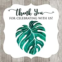 Monstera Leaf Thank You for Celebrating with Us Favor Stickers - Wedding Baby Shower - Set of 30