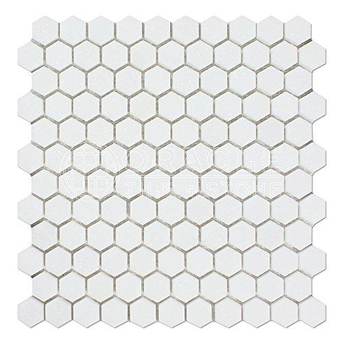 Thassos White Greek Marble 1 inch Hexagon Mosaic Tile, Honed -