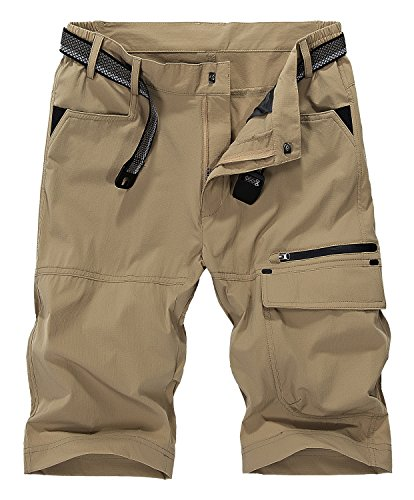 (Vcansion Men's Outdoor Lightweight Quick Dry Hiking Shorts Sports Casual Shorts Khaki US 34)