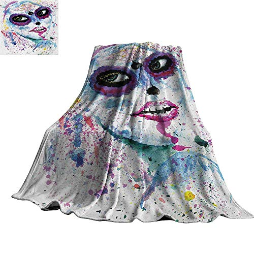 RenteriaDecor Girls,Blankets Grunge Halloween Lady with Sugar Skull Make Up Creepy Dead Face Gothic Woman Artsy Throw Rug Sofa Bedding -