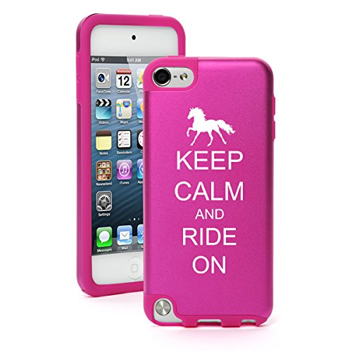 Apple iPod Touch 5th / 6th Generation Aluminum & Silicone Hard Case Cover Keep Calm and Ride On Horse (Hot Pink)