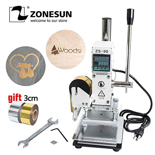 Xennos ZS-90 Hot Foil Stamping Machine Manual Bronzing Embosser PVC Card Leather Paper Wood Embossing Stamping Branding Iron - (Color: 5x7 Without Holder)