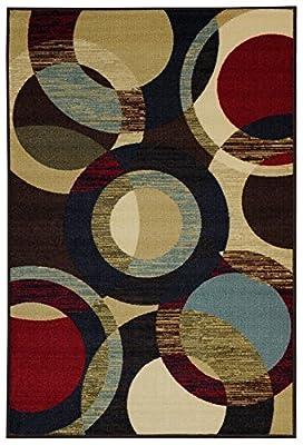 Rubber Back Multicolor Contemporary Circles Non-Slip (Non-Skid) Area Rug & Runner HMM5049