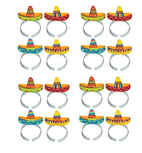 Cinco De Mayo Fiesta Party Colorful Sombrero Headbands Accessories, Paper, Pack of 16 ()