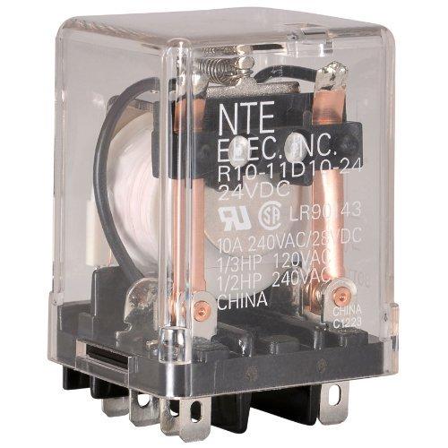 NTE Electronics R10-11D10-24 Series R10 General Purpose AC Relay, DPDT-NO Contact Arrangement, 10 Amp, 24 VDC