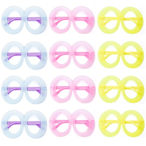 Party Eye Glasses colorful Cute Wide Frame eyeglass Props Favor Costume For Kids Women Christmas Wedding Thanksgiving Holiday Decorations, 12 Pack - Eyeglasses Neon