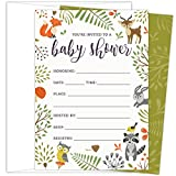 KokoPaperCo Woodland Baby Shower Invitations with Owl and Forest Animals. Set of 25 Fill-in Style Blank Cards and Envelopes. Unisex design suitable for boy or girl.