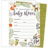 Woodland Baby Shower Invitations with Owl and Forest...