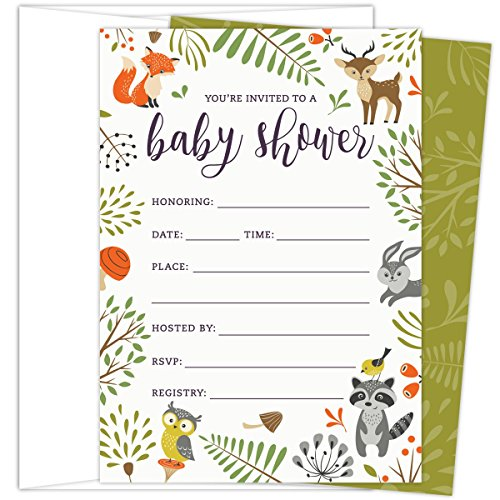 Woodland Baby Shower Invitations with Owl and Forest Animals. Set of 25 Fill-in Style Blank Cards and Envelopes. Unisex design suitable for boy or girl. -