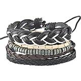 MJartoria Unisex PU Leather Hemp Cords Beaded Multi Strands Adjustable Wrap Bracelets Set of 5 Black