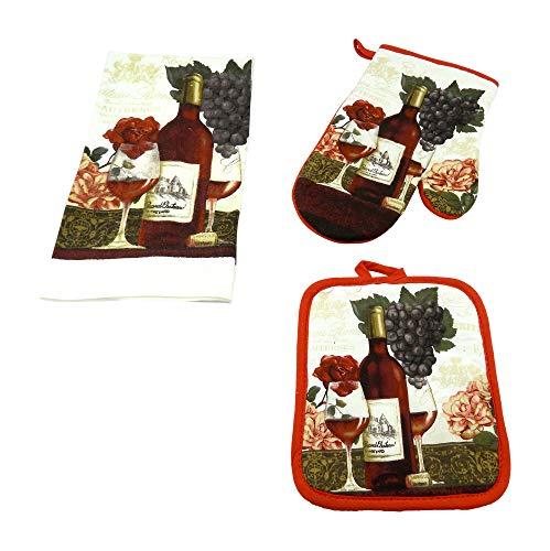 DINY Home & Style 3 Piece Kitchen Set Includes Towel Pot Holder & Oven Mitt Grapes & Wine Bottle Design