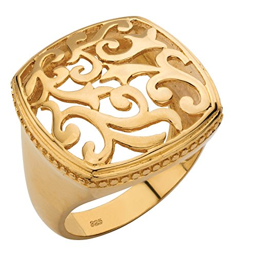 18k Gold Over .925 Sterling Silver Squared Filigree Ring with Milgrain Edging