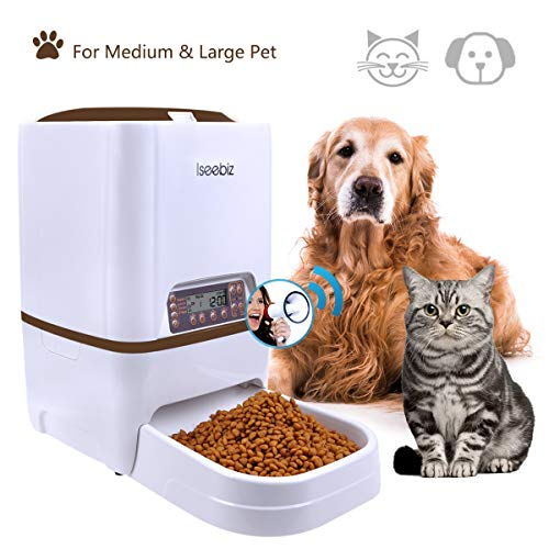 Automatic Pet Feeder, 6L Dogs Cats Food Dispenser with Voice Record Remind, Timer Programmable, Portion Control, IR Detect, 4 Meals a Day for (Medium & Large) Dogs Cats by Iseebiz