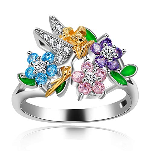 Uloveido Girls Pink Flower Angel Jewelry Rings for Women Mom White Gold Plated Fashion Cocktail Flower Girls Enamel Rings for Women Birthday Anniversary Size 6 RA543
