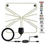 TV Antenna, IKAH Upgraded Version HD Digital TV Transparent Antenna Kit with Detachable Amplifier Signal Booster for Indoor,Best 50 Miles Long Range 1080P Adapter,13ft Coax Cable Support All TV's