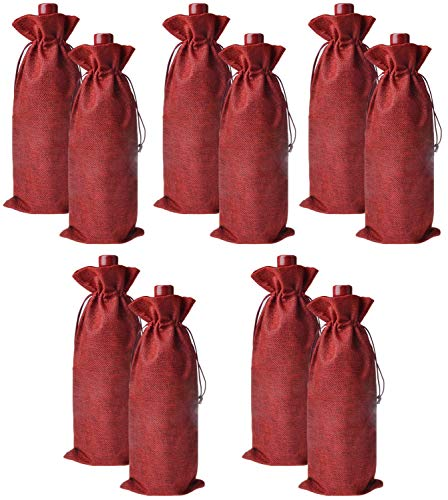 IBLUE 10Pcs Drawstring Wine Bags Linen Bottle Gift Bags Wine Bottle Protector for Party Wedding Dinner Travel P002 (Wine red)