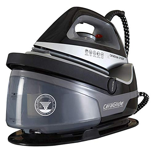 Tower Steam Generator Iron with Non-Stick Ceramic Soleplate, Adjustable Thermostat Control, Variable Settings, Three Bar Pressure, 100 g/min Steam Output, 2700 W, Black
